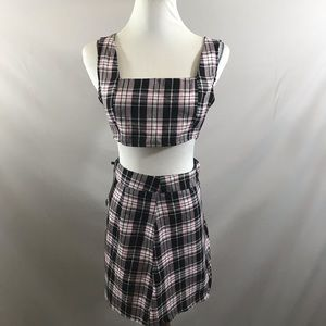 Nasty Gal two piece woven check skirt and crop top